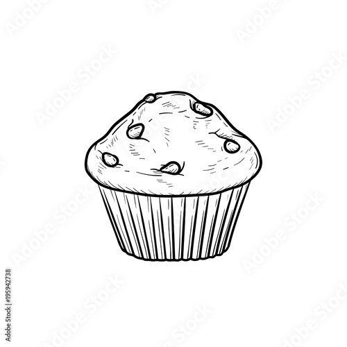 Valokuva Muffin hand drawn outline doodle icon