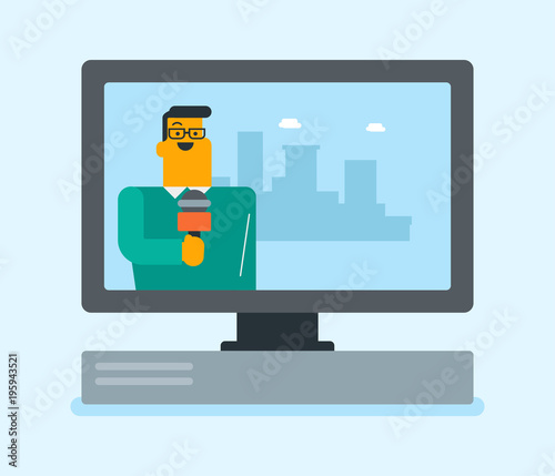 Television Set Broadcasting The News With A Hipster Reporter On City Background Vector Flat Design