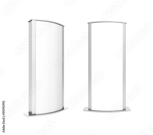 Double sided outdoor advertising metallic Poster stand Mock up. Curved LED B Totem Poster Light Box. 3d render illustration. Wall mural