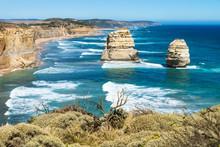 Two Of Twelve Apostels Overlooking Greenbush At The Great Ocean Road, Victoria, Australia