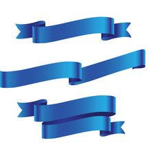 Blue Detailed Ribbon Isolated ...