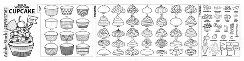 Set of isolated cups, frosting and toppings for build your own cupcake Canvas