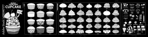 Set of isolated white silhouette cups, frosting and toppings for build your own cupcake Canvas Print