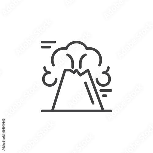 Volcano Mountain Outline Icon Linear Style Sign For Mobile