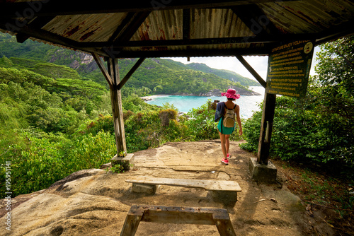 Stampa su Tela Anse major trail,  a woman hiking on nature trail of Mahe, in order to view anse