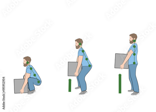 Fotografie, Obraz  Correct posture to lift a heavy object safely