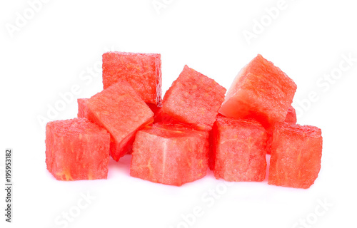 cube of red watermelon isolated on white background