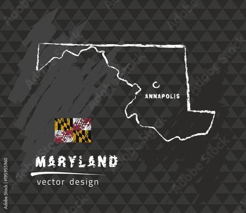 Map of Maryland, Chalk sketch vector illustration - Buy this ... Illustration Map Of Maryland on graffiti of maryland, layout of maryland, landscape of maryland, graph of maryland, icons of maryland, clipart of maryland, food of maryland, drawing of maryland, cartoon of maryland,