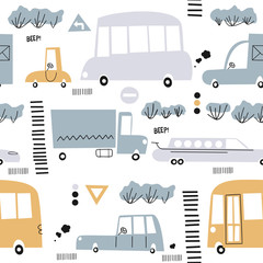 Seamless pattern with hand drawn cute car. Perfect for kids fabric,textile,nursery wallpaper.