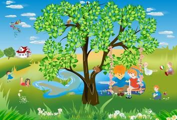 Fototapeta Do przedszkola Wakacyjne zabawy dzieci