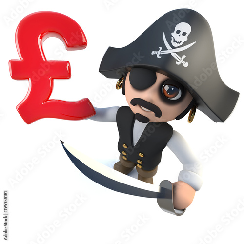 Funny 3d Cartoon Pirate Captain Holding A Uk Pounds Sterling