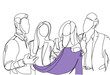 Friends Group Choosing Clothes Sketch People Talking Hold Sweater Men And Women Doodle Shopping Vector Illustration