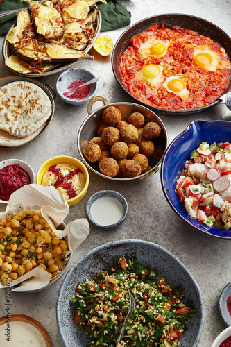 Overhead image of traditional jewish and middle eastern food
