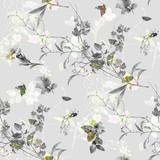 Akwarela liść i kwiaty, bezszwowy wzór na szarym tle - 195961161