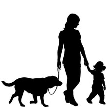 Silhouettes Of Woman With Kid ...