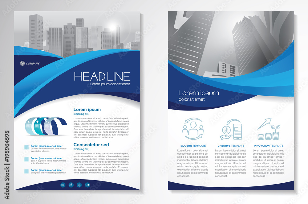 Fototapety, obrazy: Template vector design for Brochure, Annual Report, Magazine, Poster, Corporate Presentation, Portfolio, Flyer, infographic, layout modern with blue color size A4, Front and back, Easy to use.