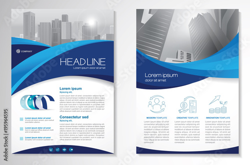 Fotografía  Template vector design for Brochure, Annual Report, Magazine, Poster, Corporate Presentation, Portfolio, Flyer, infographic, layout modern with blue color size A4, Front and back, Easy to use