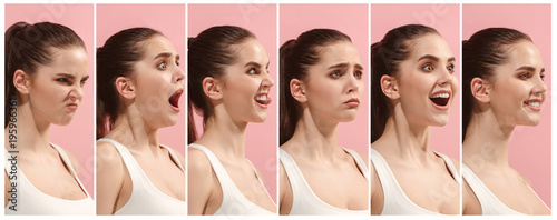 Fotografie, Tablou  The collage of different human facial expressions, emotions and feelings