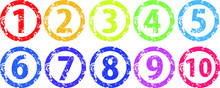 Circular Stamp Style Numbers 7