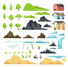 Cartoon Landscape Vector Eleme...