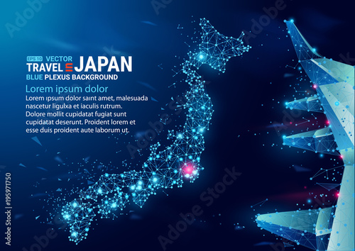 obraz lub plakat Polygonal map of Japan. Floating blue plexus geometric background. Creative abstract vector illustration. High tech, communications and travel. Effect of motion luminous particles and points.