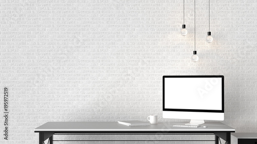 Obraz Modern workspace, isolated computer screen and empty brick wall. 3D illustrating. - fototapety do salonu