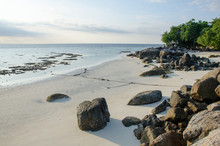 Beach At Low Tide, Sand And Rock