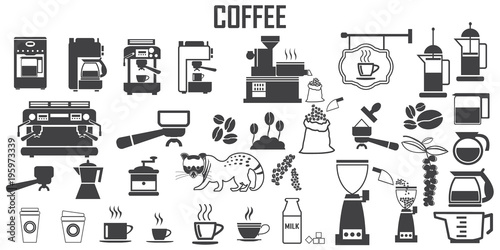 coffee, machine,  espresso, cup, kitchen  illustration flat icons. mono vector symbol