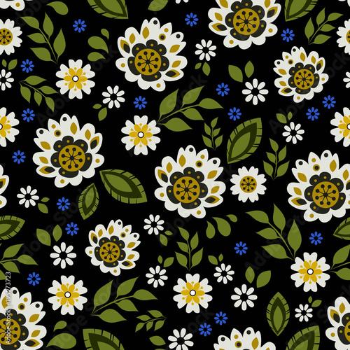 wzor-polski-ludowe-biale-kwiaty-na-czarnym-tle