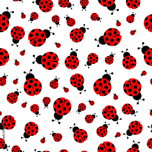 Tablou Canvas Ladybug seamless pattern vector