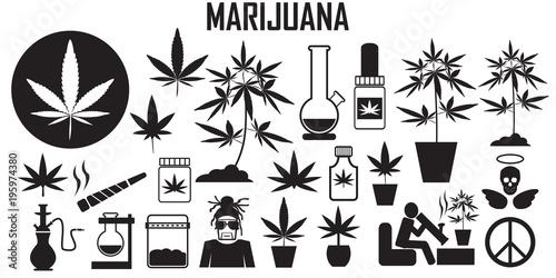 Fényképezés marijuana, cannabis, leaf, weed, medical, drug  flat icons