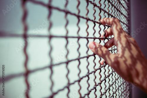 Fotografie, Obraz  hand of prisoner holding rustic metal fence with pattern shadow, criminal locked