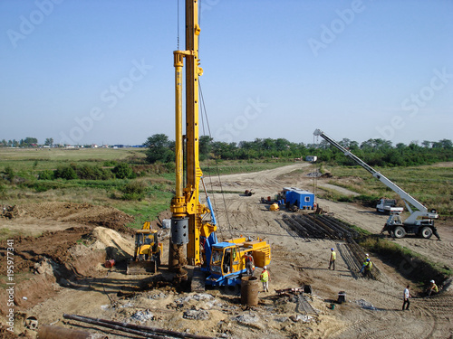Fotografia  Drilling machinery on the construction site