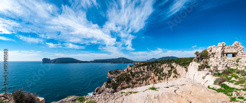 Fotobehang Kust Panoramic landscape of Sardinian coast in a sunny day of spring