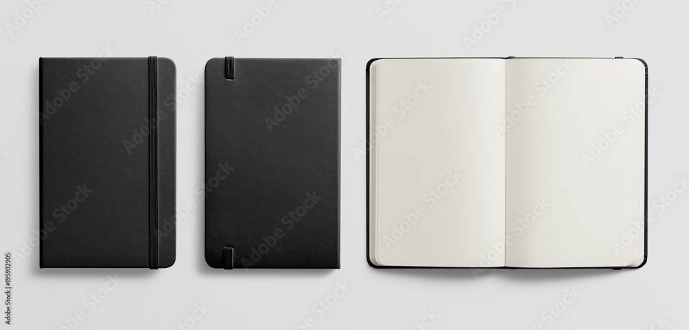 Fototapeta Photorealistic black leather notebook mockup on light grey background.