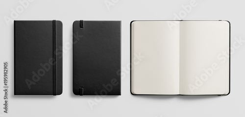 Photorealistic black leather notebook mockup on light grey background Wallpaper Mural