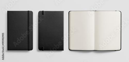 Obraz Photorealistic black leather notebook mockup on light grey background. - fototapety do salonu