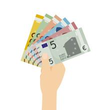 Hand Hält Mehrere Euro-Geldscheine