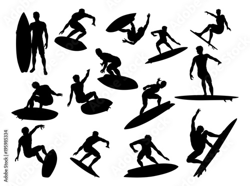 Photo  Surfer Silhouettes Detailed