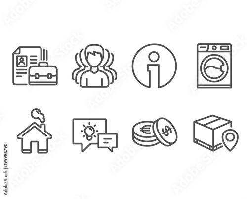 Set of Savings, Group and Vacancy icons  Washing machine
