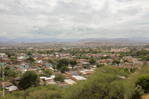 Foto op Aluminium Zalm view from castle to Cumana city
