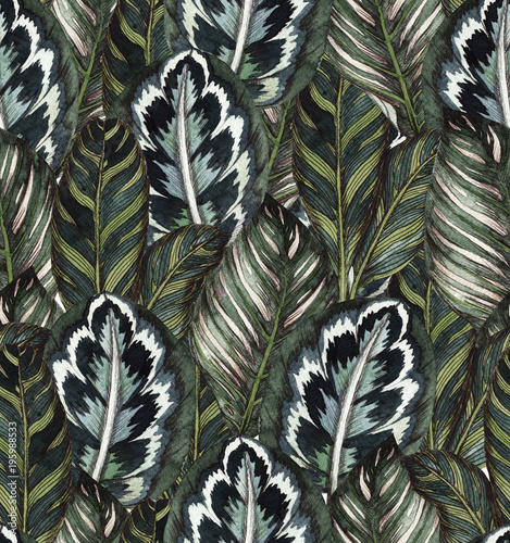 Tropical seamless pattern tropica leaves
