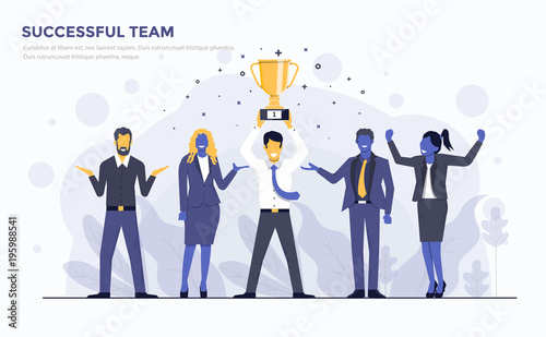 Foto Flat Modern Concept Illustration - Successful Team
