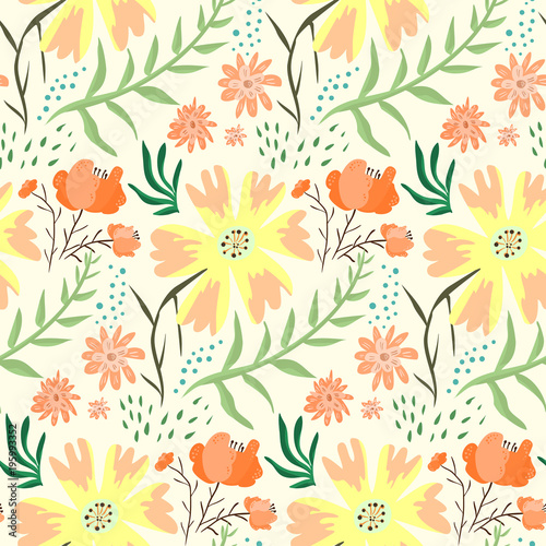 Bright Red And Orange Floral Summer Seamless Pattern