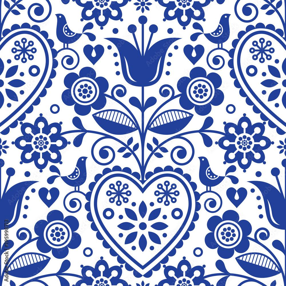 Skandynawski bezszwowy sztuka ludowa wektoru wzór, kwiecisty granatowy powtarzalny projekt, Północny ornament z ptakami, sercami i kwiatami