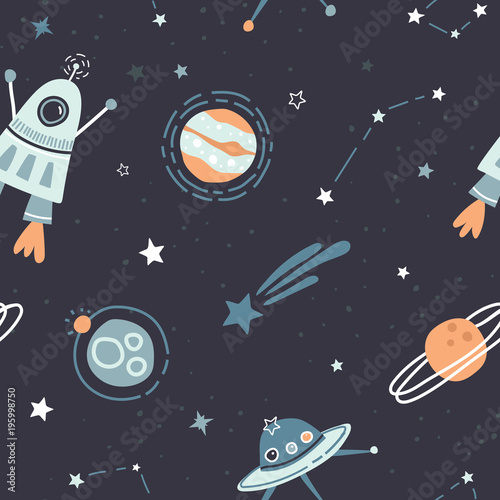 Seamless childish pattern with doodle space elements space, satellite, planet, rocket, black and white stars, space probe, constellations, meteorite. Trendy kids dark vector background.