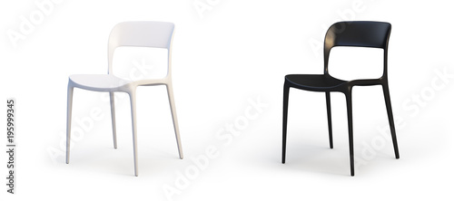 Papel de parede Modern white and black chairs. 3d render