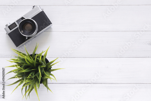 Minimal Work E Creative Flat Lay Photo Of Worke Desk Office Wooden Table With Old Camera Top View Copy