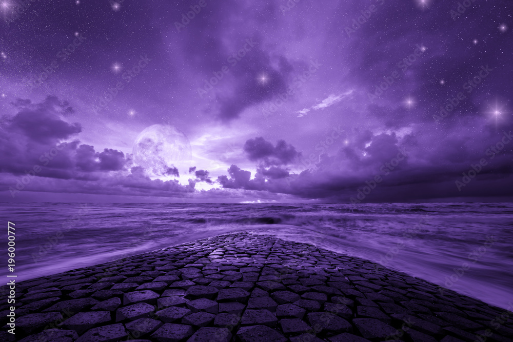 Fototapety, obrazy: Ultra violet fantasy background, road to the ocean with fantastic night sky, color of the year 2018