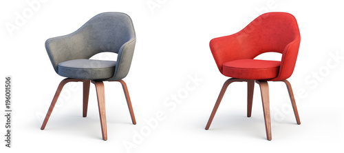 Fotografia Modern gray and red armchairs. 3d render